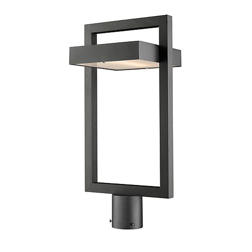 1-Light Black Outdoor LED Post Mount Light with Frosted Glass - 10.5 inch