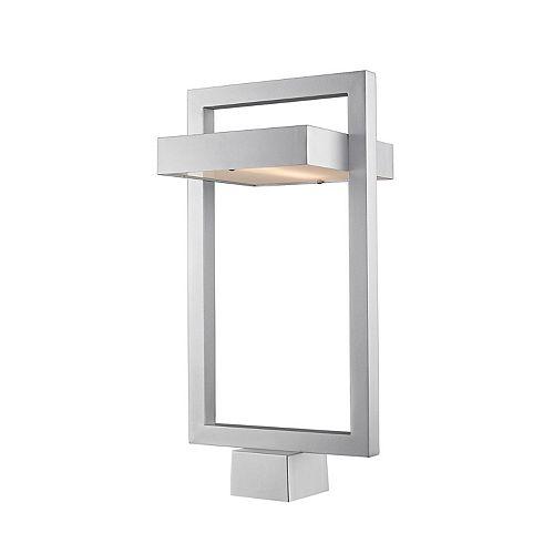 Lampadaire extérieur à 1 ampoule argentée avec verre dépoli - 10,5 pouces