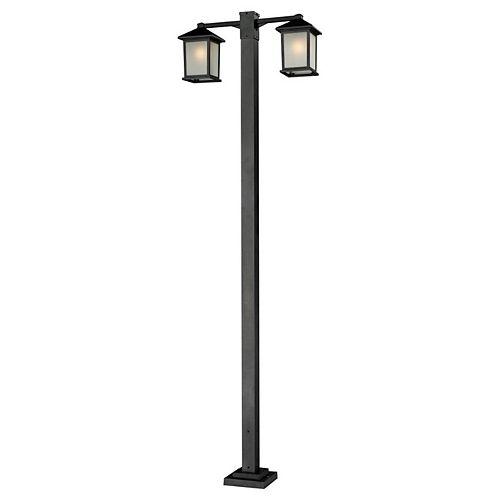 Monture extérieure à 2 ampoules, noir, verre à pois blanc - 30 pouces