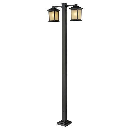 Monture extérieure à 2 ampoules pour poteau d'extérieur, bronze huilé, avec verre à dégradé teinté - 30 pouces