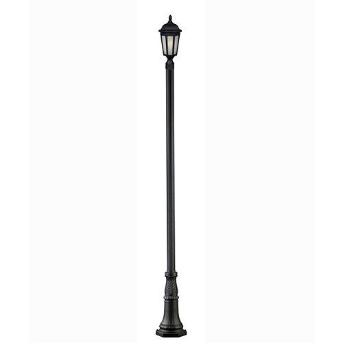 Plafonnier extérieur à 1 ampoule noir ajustable avec verre à gouttes blanc