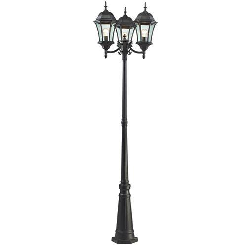 Monture extérieure à 3 ampoules, noir, verre clair biseauté