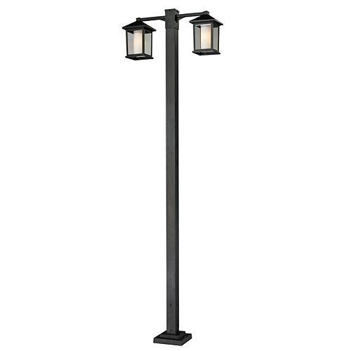 Support à 2 lumières pour extérieur, noir, avec verre opale opaque, biseauté et transparent