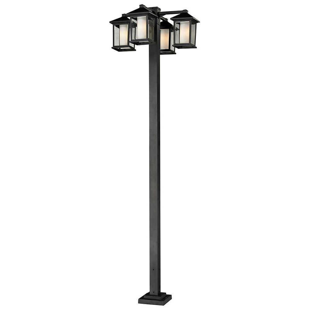 Filament Design Support à 4 lumières pour extérieur, noir, avec verre opale transparent et biseauté - 30 pouces
