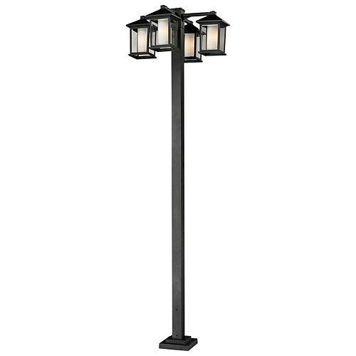 Support à 4 lumières pour extérieur, noir, avec verre opale transparent et biseauté - 30 pouces