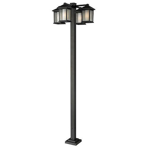 Monture extérieure à 4 lumières pour potence extérieure, bronze huilé, avec verre transparent à ailettes et opale mat