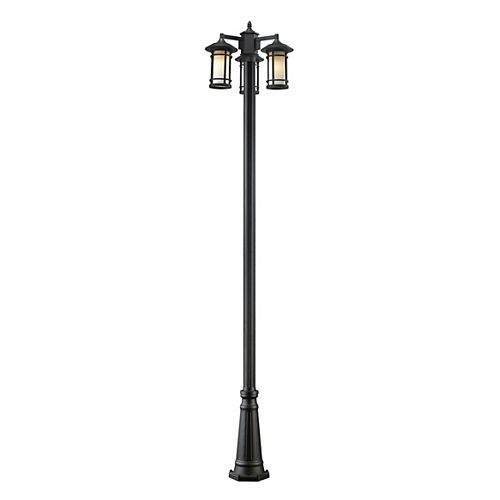 Monture extérieure à 3 lumières avec poteau extérieur opaque noir