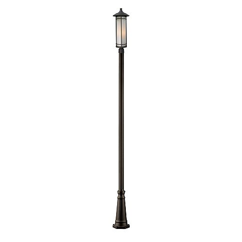 Support à 1 lumière pour poteau extérieur, bronze huilé, avec abat-jour en verre opale mat