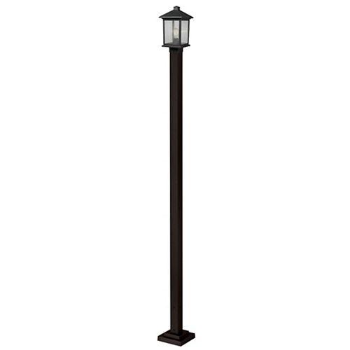 Support à 1 lumière pour poteau extérieur, bronze huilé, avec verre à avers clair - 9,25 pouces