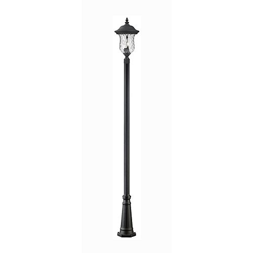 Monture extérieure à 3 ampoules, noir avec verre d'eau clair