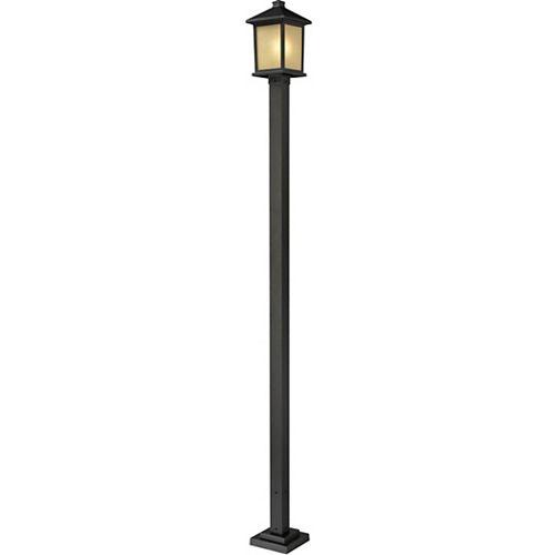 Monture extérieure à 1 lumière pour poteau extérieur, bronze huilé, avec verre à dégradé teinté - 9,5 pouces