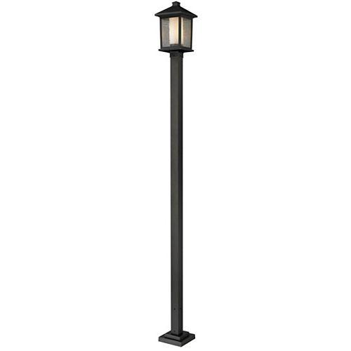 Support à 1 lumière pour poteau extérieur, bronze huilé, avec verre transparent à glaçons et opale mat