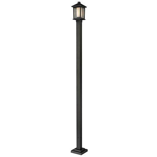 Support à 1 lumière pour poteau extérieur, bronze huilé, avec verre transparent et à avale mat