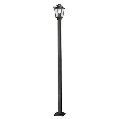 Monture extérieure à 3 ampoules, noir, avec verre en verre clair - 9,25 pouces