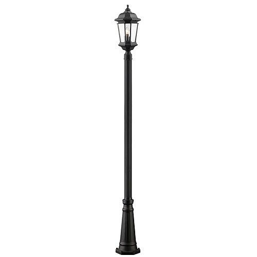 Monture extérieure à 3 ampoules, noir, verre clair biseauté, 10 po