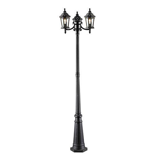 Monture extérieure à 3 ampoules, noir, verre clair biseauté - 22 pouces