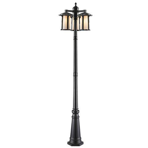 Monture extérieure à 3 ampoules, noir avec verre opale mat - 19,5 pouces