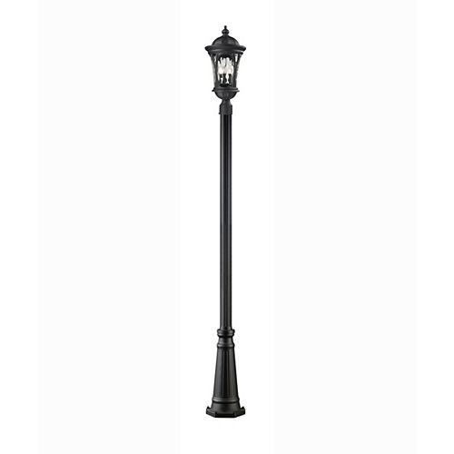 Monture extérieure à 3 ampoules, noir avec verre d'eau - 14 pouces