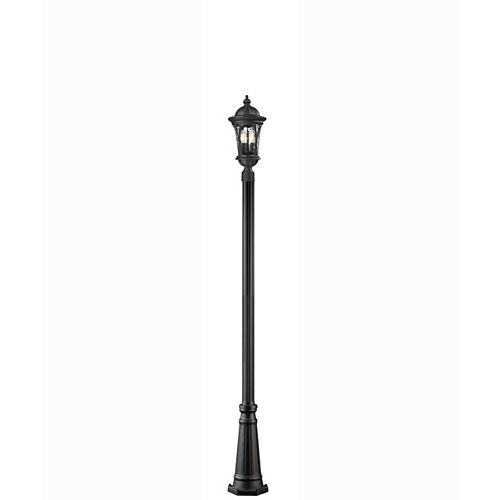 Monture extérieure à 3 ampoules, noir avec verre d'eau