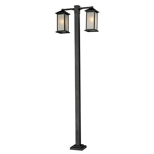 Support de poteau extérieur noir à 2 ampoules avec abat-jour en verre à traînées blanc - 30 pouces