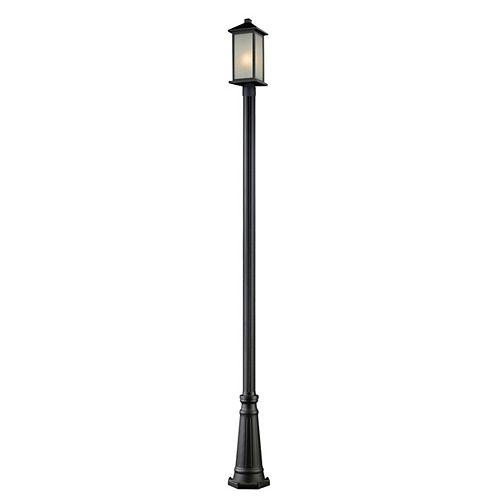 Plafonnier extérieur à 1 ampoule noir ajustable avec abat-jour en verre à traînées blanc