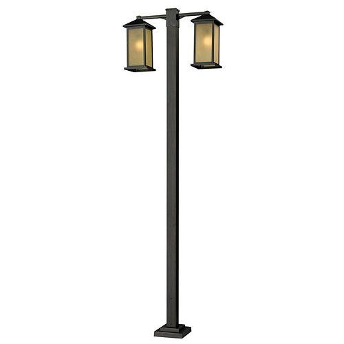 Monture extérieure à 2 ampoules pour poteau d'extérieur, bronze huilé, avec abat-jour en verre dégradé teinté, 30 pouces