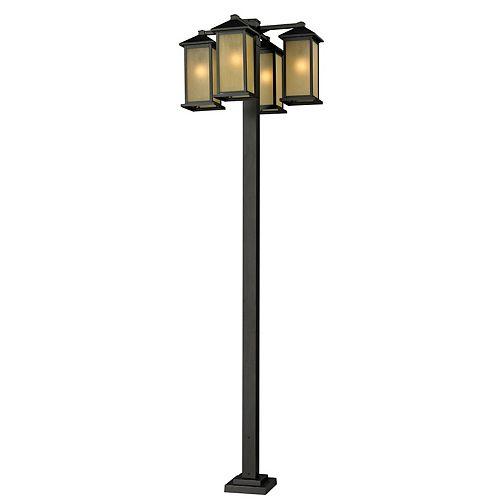 Monture extérieure à 4 ampoules en bronze huilé pour l'extérieur, abat-jour en verre teinté teinté