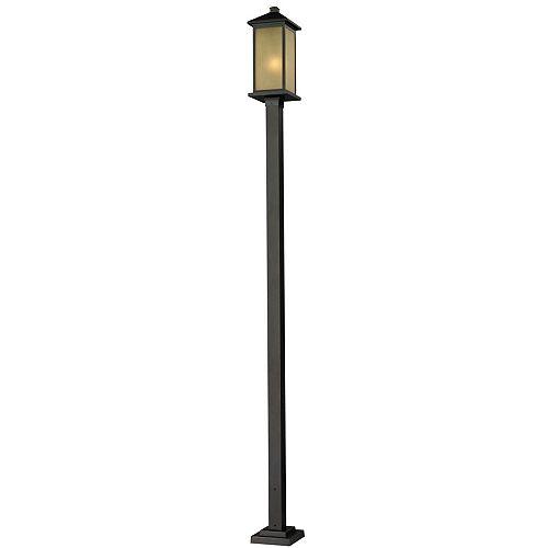 Monture extérieure à 1 lumière pour poteau extérieur, bronze huilé, avec abat-jour en verre teinté teinté - 9,25 pouces