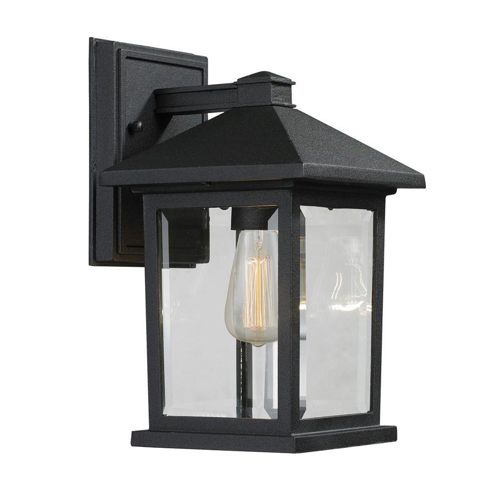 Filament Design Applique murale extérieure à 1 ampoule noire avec verre biseauté transparent - 7,125 pouces