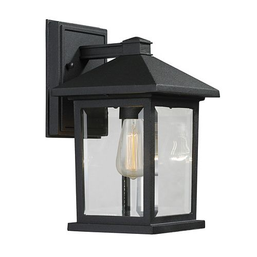 1-Light Black Outdoor Wall Sconce with Clear Beveled Glass - 7.125 inch