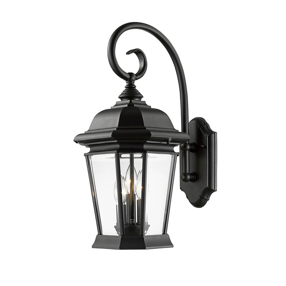 Filament Design 3 Light Black Outdoor Wall Sconce With Clear Beveled Glass 10 Inch The Home Depot Canada