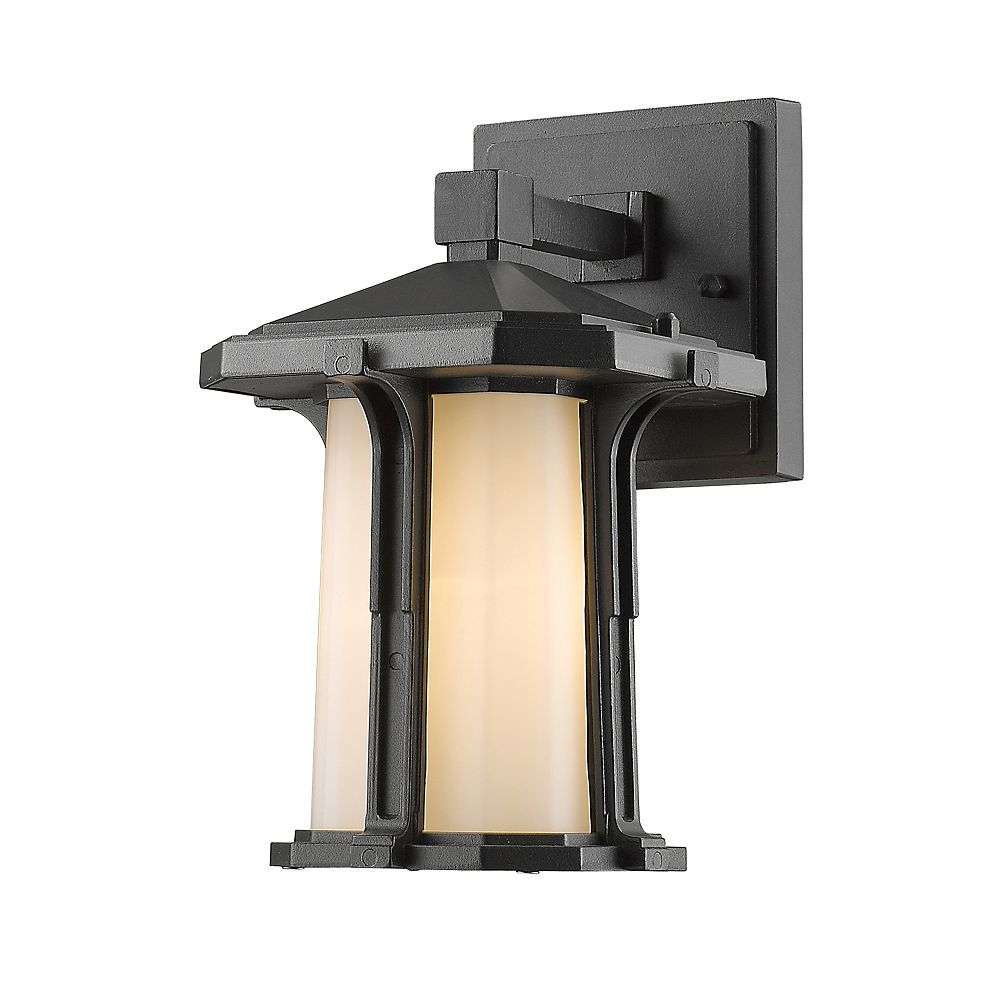 Filament Design 1-Light Black Outdoor Wall Sconce with Matte Opal Glass - 6 inch