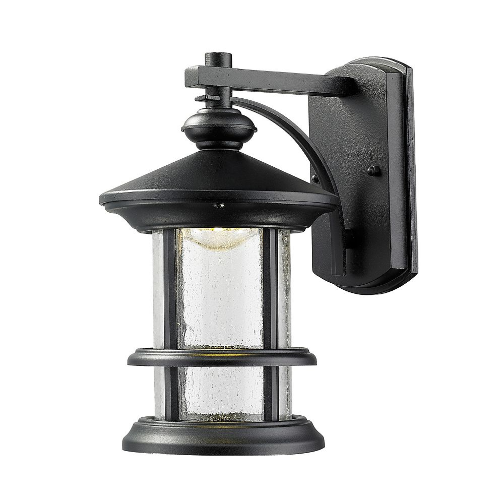 Filament Design 1-Light Black Outdoor LED Wall Sconce with Clear Seedy Glass - 7.5 inch