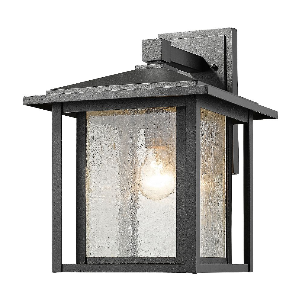 Filament Design 1-Light Black Outdoor Wall Sconce with Clear Seedy Glass - 11 inch