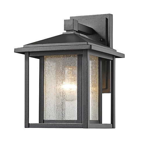 1-Light Black Outdoor Wall Sconce with Clear Seedy Glass - 7.5 inch