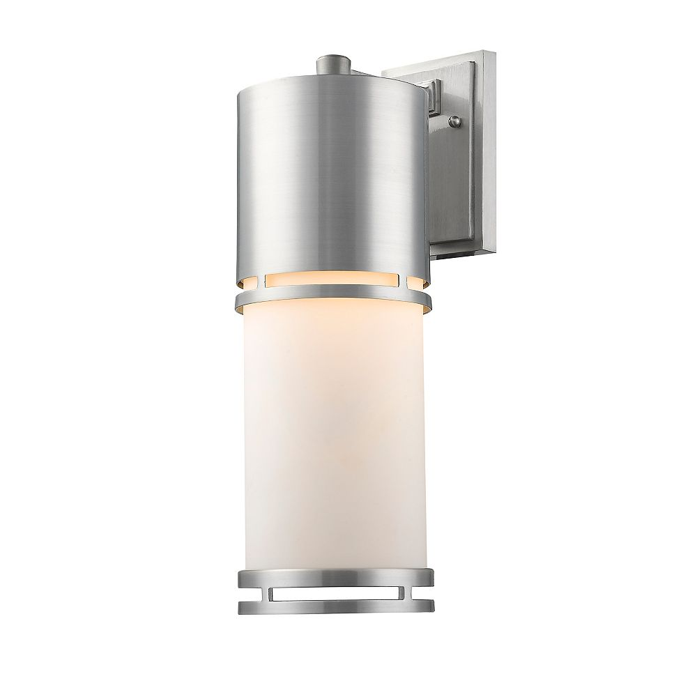 Filament Design Applique murale d'extérieur à 1 ampoule en aluminium brossé et verre opale mat - 8,25 pouces