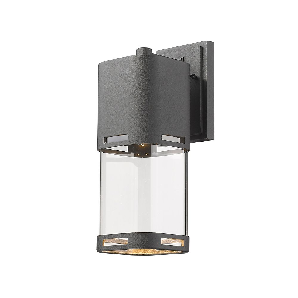 Filament Design 1-Light LED Black Outdoor Wall Sconce with Clear Glass - 6.75 inch