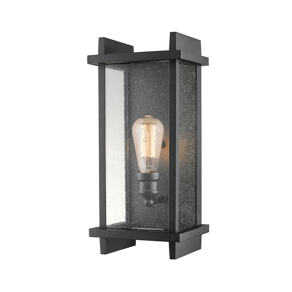 Filament Design 1-Light Black Outdoor Wall Sconce with Clear Seedy Glass - 6 inch