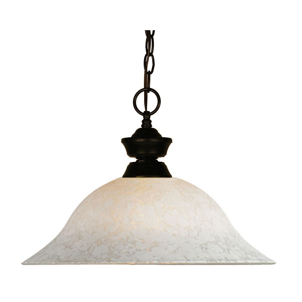 Filament Design Luminaire suspendu à 1 ampoule bronze et verre à fleurs blanc - 16 po