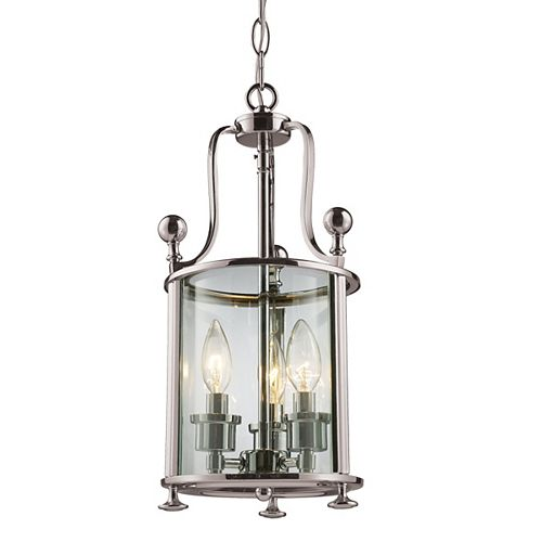 Filament Design Luminaire suspendu à 3 ampoules nickel et verre transparent - 8,5 po
