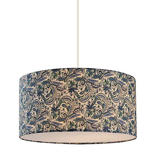 Luminaire suspendu blanc à 3 lampes avec abat-jour en tissu bleu - 16 pouces