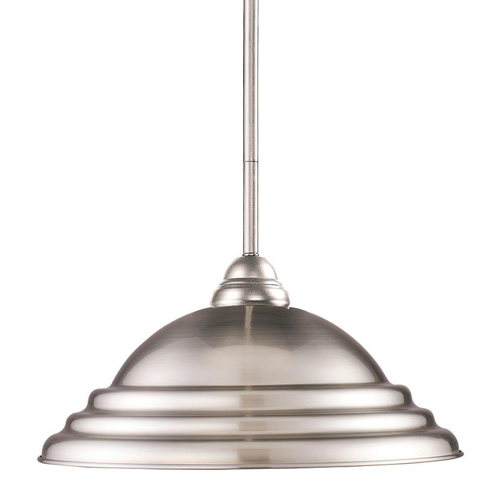 Filament Design Luminaire suspendu à 1 lumière, nickel brossé et abat-jour en acier nickelé, 16 po