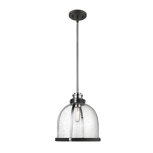 Filament Design 1-Light Matte Black and Chrome Pendant with Clear Seedy Glass - 12.125 inch