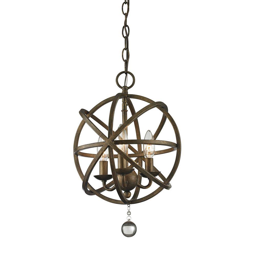Filament Design 3-Light Golden Bronze Pendant - 12 inch