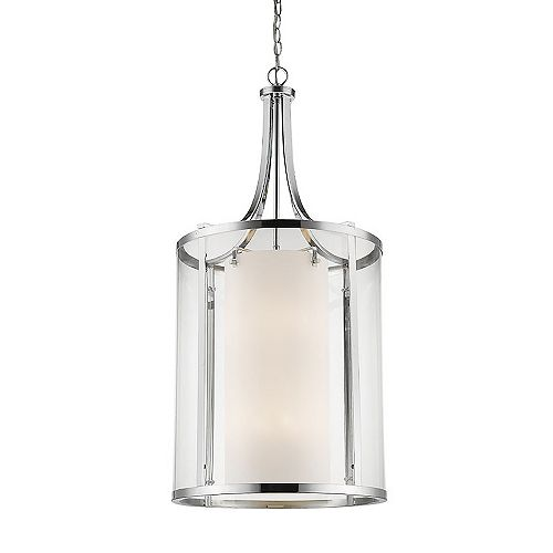 Filament Design 12-Light Chrome Pendant with Clear and Matte Opal Glass - 18 inch