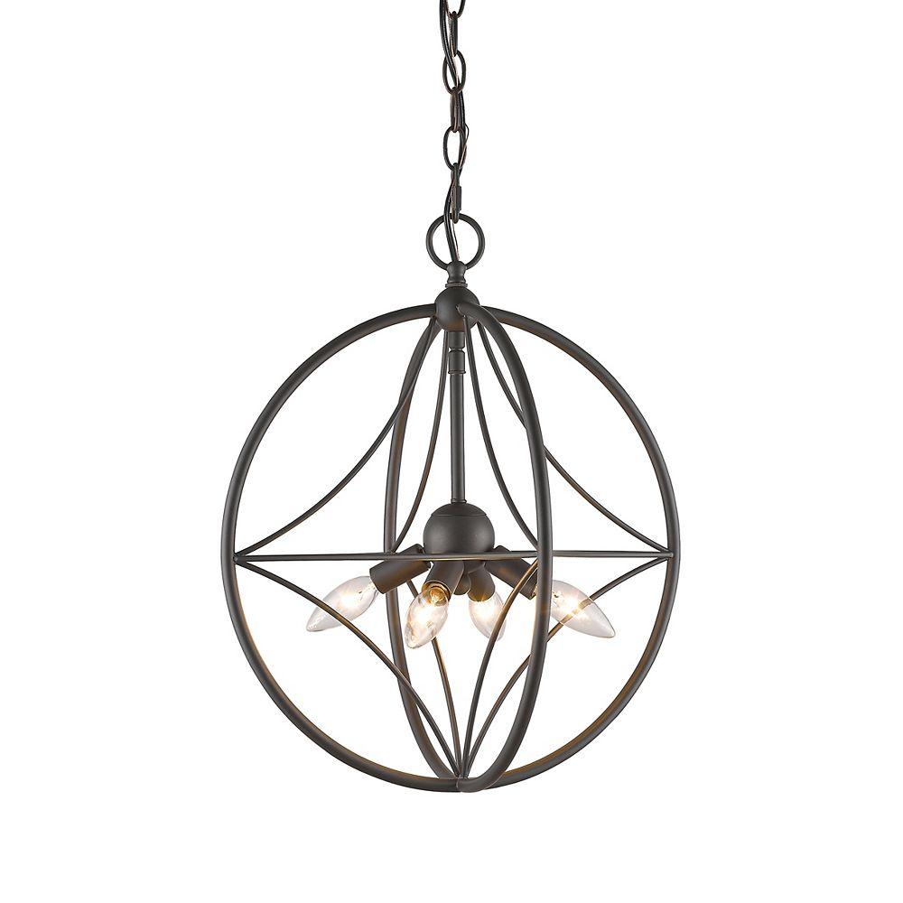 Filament Design 4-Light Bronze Pendant with Bronze Steel Shade - 16 inch