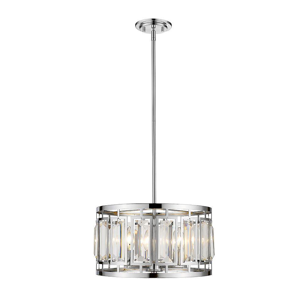 Filament Design Luminaire suspendu à 4 ampoules en chrome avec abat-jour en acier et cristal transparent et chrome - 15,25 pouces