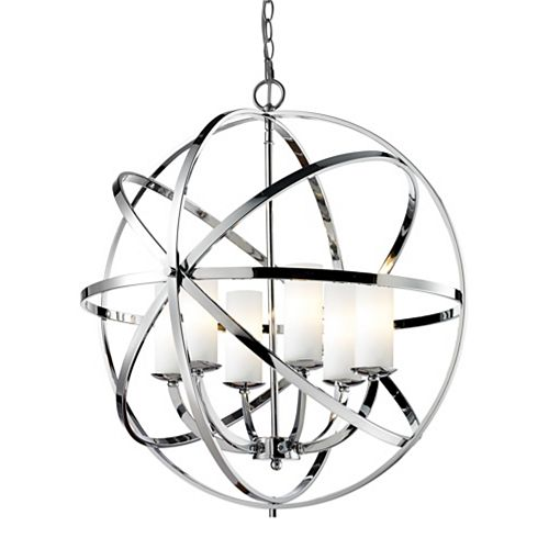 Filament Design 6-Light Chrome Pendant with Matte Opal Glass - 23.82 inch