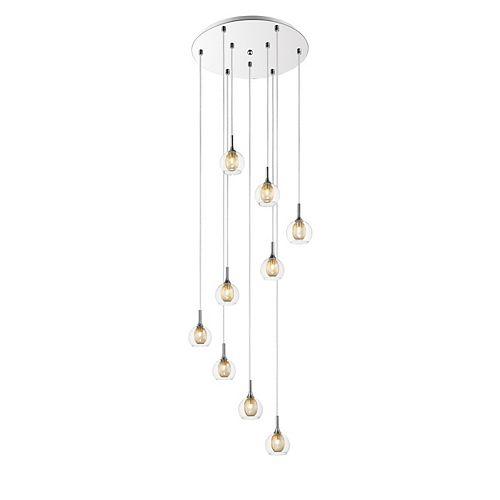 Luminaire suspendu chrome à 9 ampoules avec abat-jour en acier et verre transparent et maille - 18 pouces