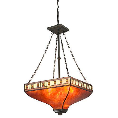 Luminaire suspendu à 3 ampoules Java avec abat-jour en mica ambré et verre